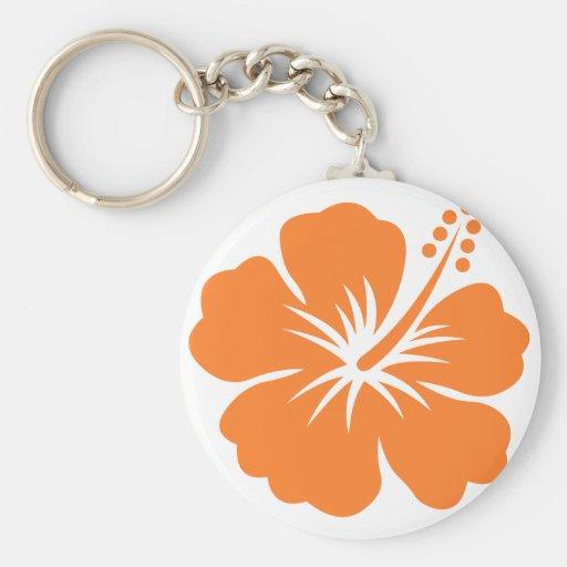Orange hibiscus flower basic round button keychain