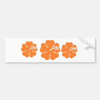 Orange hibiscus flower bumper stickers