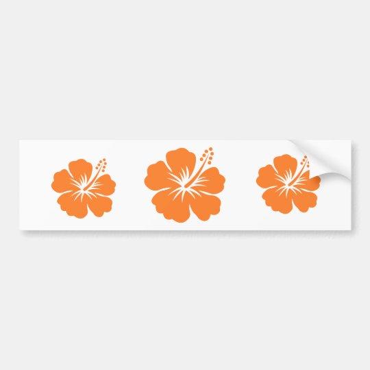 Orange hibiscus flower bumper sticker