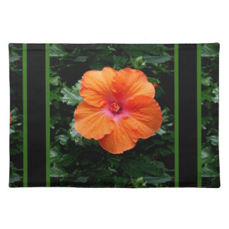 Orange Hibiscus Flower by Sharles Place Mats