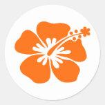 Orange hibiscus flower classic round sticker