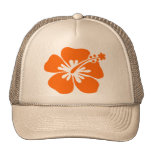Orange hibiscus flower hats