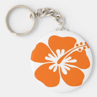 Orange hibiscus flower keychain