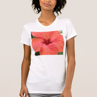 Orange Hibiscus Flower Macro Ladies T Shirt