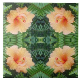 Orange Hibiscus Flower Pattern Ceramic Tile