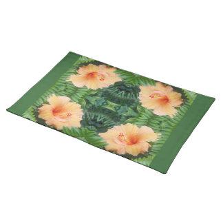 Orange Hibiscus Flower Pattern Placemats