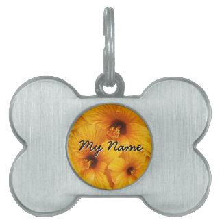 Orange Hibiscus Flower Pet Tag