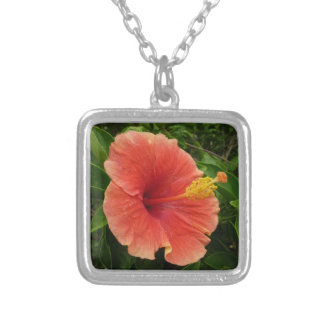 Orange Hibiscus Flower Silver Plated Necklace