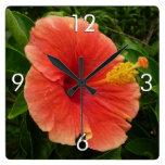 Orange Hibiscus Flower Square Wall Clock