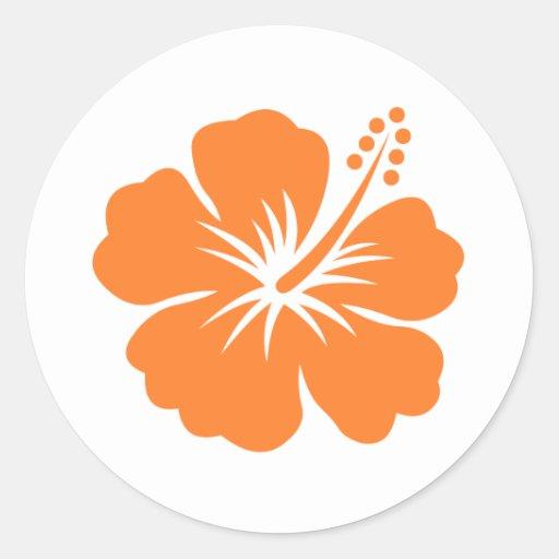 Orange hibiscus flower round stickers