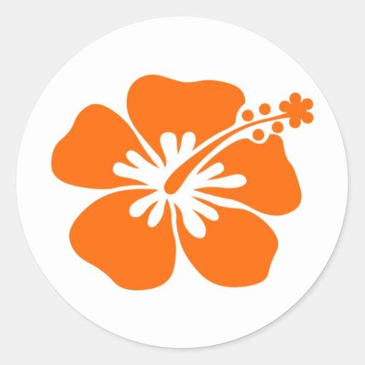 Orange hibiscus flower sticker