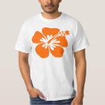 Orange hibiscus flower tee shirt