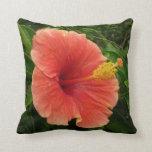 Orange Hibiscus Flower Throw Pillow