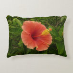 Orange Hibiscus Flower Tropical Floral Accent Pillow