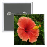 Orange Hibiscus Flower Tropical Floral 2 Inch Square Button
