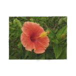 Orange Hibiscus Flower Tropical Floral Fleece Blanket