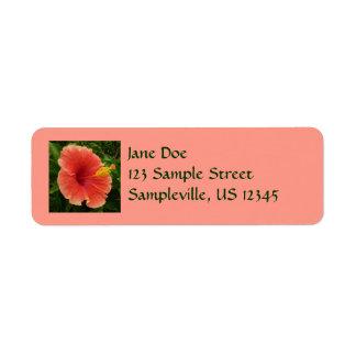 Orange Hibiscus Flower Tropical Floral Label