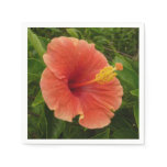 Orange Hibiscus Flower Tropical Floral Paper Napkin