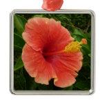Orange Hibiscus Flower Tropical Floral Square Metal Christmas Ornament