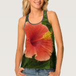 Orange Hibiscus Flower Tropical Floral Tank Top