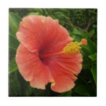Orange Hibiscus Flower Tropical Floral Small Square Tile