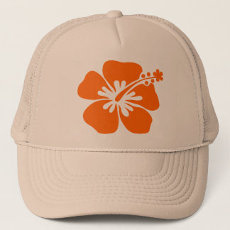Orange hibiscus flower trucker hat