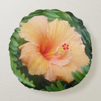 Orange Hibiscus Flower with Ferns Round Pillow