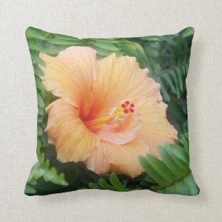 Orange Hibiscus Flower with Ferns Throw Pillow