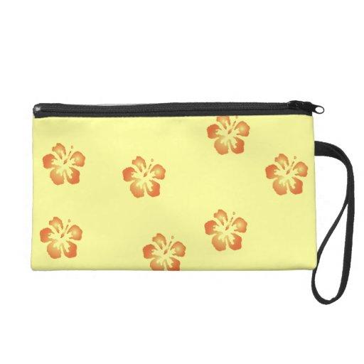 Orange Hibiscus Flowers Bagettes Bag Wristlet Purse
