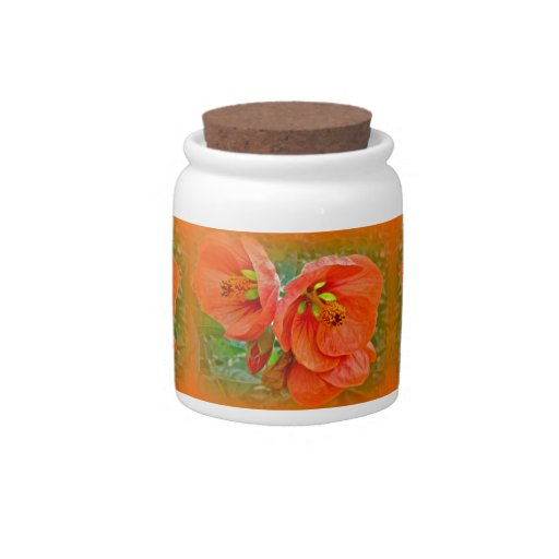 Orange Hibiscus Flowers Candy Jars