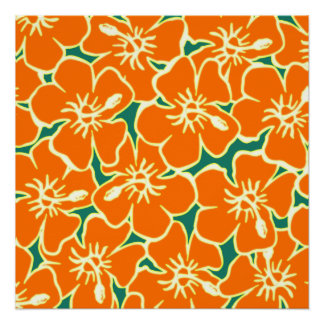 Orange Hibiscus Flowers Hawaiian Poster