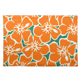 Orange Hibiscus Flowers Tropical Hawaiian Luau Cloth Placemat