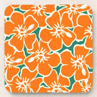 Orange Hibiscus Flowers Tropical Hawaiian Luau Coaster