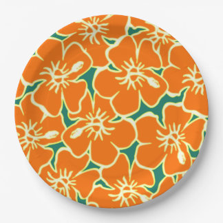 Orange Hibiscus Flowers Tropical Hawaiian Luau Paper Plate