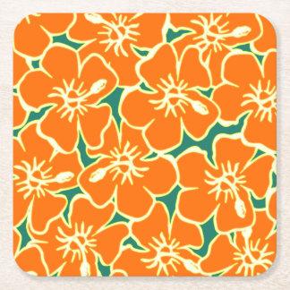 Orange Hibiscus Flowers Tropical Hawaiian Luau Square Paper Coaster