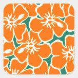 Orange Hibiscus Flowers Tropical Hawaiian Luau Square Sticker