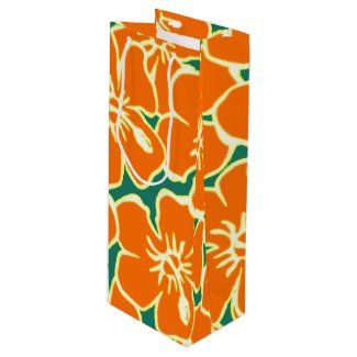 Orange Hibiscus Flowers Tropical Hawaiian Luau Wine Gift Bag