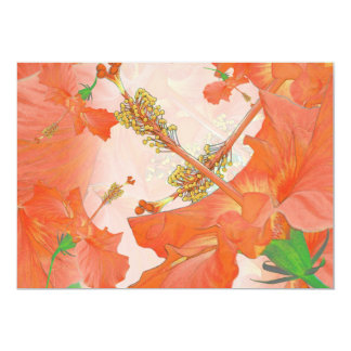 """orange hibiscus"" Hawaiian Themed INVITATION"