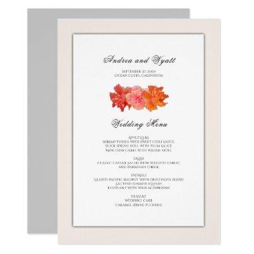 Beach Themed Orange Hibiscus Hawaiian Wedding Menu Template