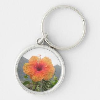Orange Hibiscus Keychain