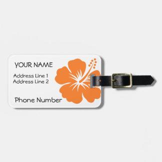 Orange Hibiscus Luggage Tag
