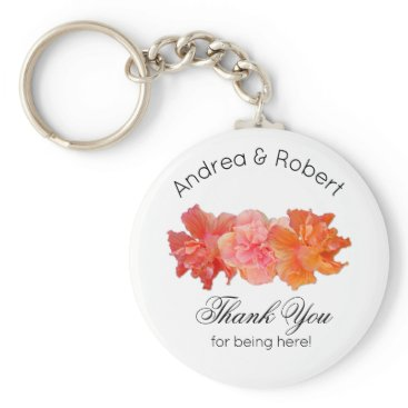 Beach Themed Orange Hibiscus Personal Thank You Key Ring Favor