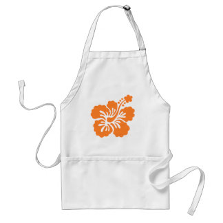 orange hibiscus Q Adult Apron