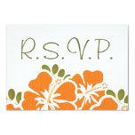 ORANGE HIBISCUS RSVP WEDDING RESPONSE CARDS CUSTOM INVITES