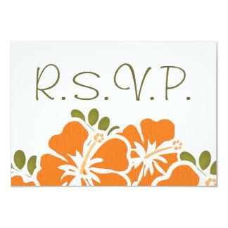 "ORANGE HIBISCUS RSVP WEDDING RESPONSE CARDS 3.5"" X 5"" INVITATION CARD"