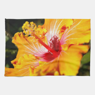 Orange Hibiscus Side View Kitchen Towel