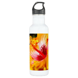 Orange Hibiscus Side View Water Bottle