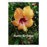 Orange Hibiscus Tropical Flower Birthday Template Greeting Card