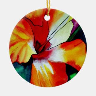 Orange Hibiscus tropical flower watercolor art Ceramic Ornament