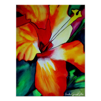 Orange Hibiscus Tropical flower watercolor art Poster